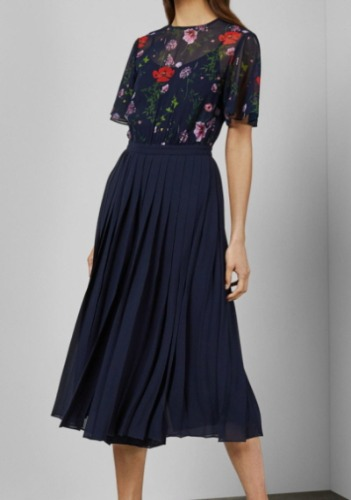 TED BAKER PLEATED CULOTTE DRESS